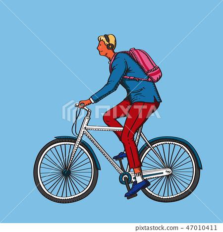 자전거를 타고 가는 도시의 젊은 남자, 벡터 이미지 47010411