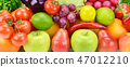Background of fresh fruits and vegetables . 47012210
