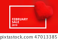 Top view on composition with hearts on red background. February sale 47013385