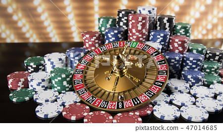 Poker Chips, Roulette wheel in motion, casino 47014685