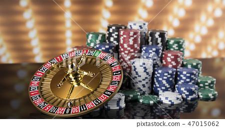 Poker Chips, Casino roulette wheel 47015062