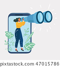 Woman holding binoculars and look thought. 47015786
