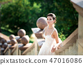 fashion photo of beautiful woman with dark hair in luxurious wedding dress posing outdoor. 47016086