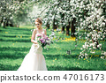 Portrait of young woman in the flowered garden in the spring time. 47016173