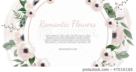 Frame border background. Floral wedding card with rose, anemone and eucalyptus branch. 47016188