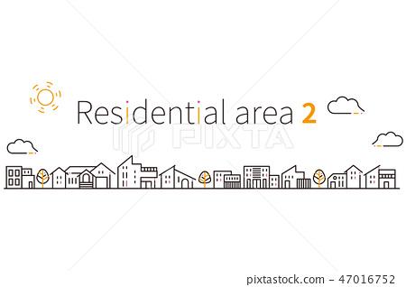 住宅區2黑色基調的3色線圖 47016752