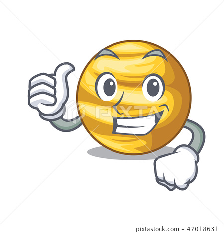 Thumbs up planet ray venus above sky cartoon 47018631