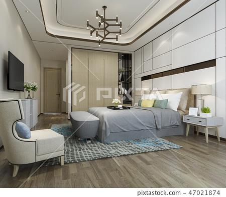 beautiful luxury bedroom suite in hotel with tv 47021874