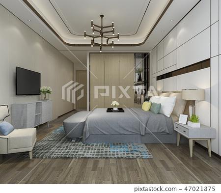 beautiful luxury bedroom suite in hotel with tv 47021875