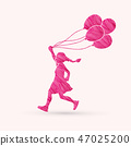 Little girl running with balloons graphic vector. 47025200