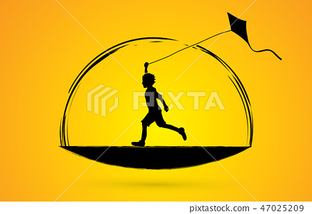 Little boy running with kite graphic vector. 47025209