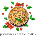 Baked homemade quiche pie in ceramic baking form 47025817