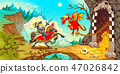 Knight fighting the dragon with treasure 47026842