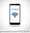 free wi-fi symbol in black smartphone mobile phone 47028289
