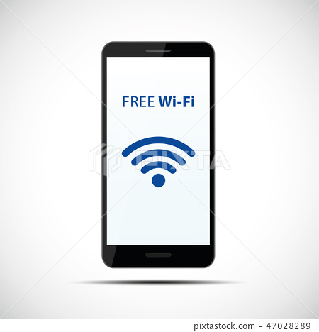 free wi-fi symbol in black smartphone mobile phone 47028289