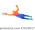 Abstract football goalkeeper is jumping for the ball Soccer from a splash of watercolors 47029617