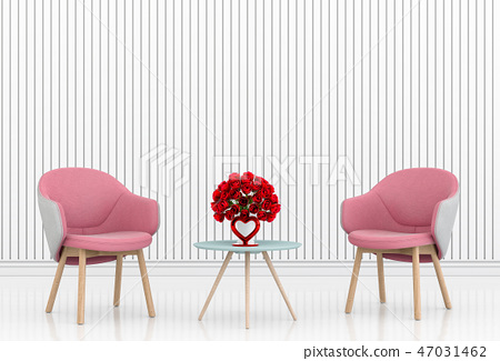 living room and chair interior design 3D 47031462