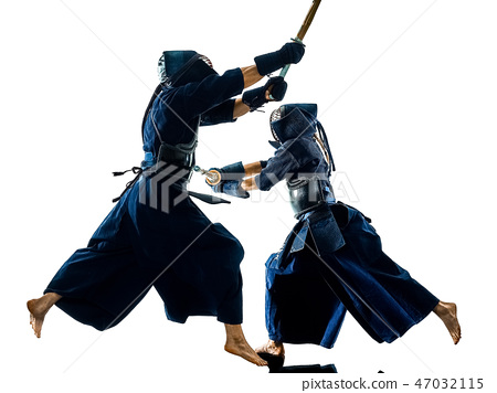 Kendo martial arts fighters silhouette isolated white bacground  47032115