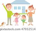 一家四口和房子快樂並排 47032514