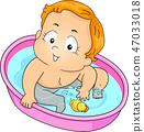 Kid Toddler Boy Bath Play Duck Illustration 47033018