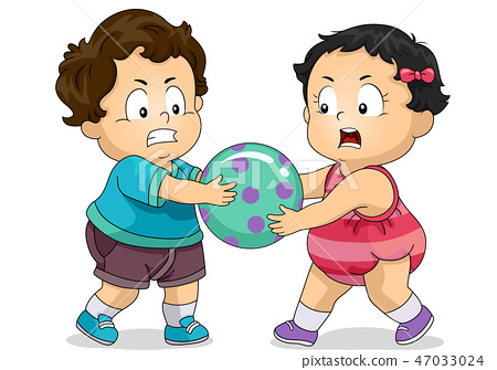 Kids Toddlers Fighting Over Toy Illustration 47033024