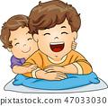 Kids Toddler Boy Brothers Illustration 47033030