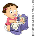 Kid Toddler Girl Feed Doll Illustration 47033036