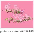 Cute birds on blossom peach tree branch background 47034409