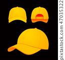 Baseball cap vector illustration on dark background. Mock-up design 47035322