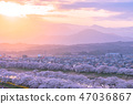 Sunset Shiraishikawa Tsutsumi Ichimokusen Sakura Ichimokusen Sakura Hakuishi Ishikawa Miyagi Prefecture白石市小川原町 47036867