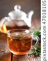 Rosemary tea in glass tea cup 47038105