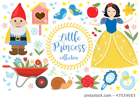 Cute fairytale princess snow white set objects. Collection design element with a little pretty girl 47039083