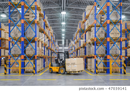 Forklift truck in warehouse or storage and shelves 47039141
