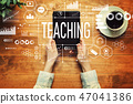 Teaching with a person holding a tablet 47041386