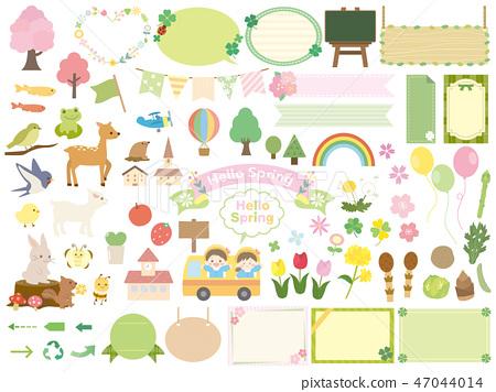 可愛的春天插圖素材 47044014