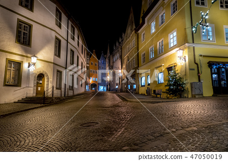 Fussen Germany Bavarian medieval town night view 47050019