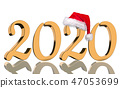 3D Render - 2020 in golden numbers with Santa Cap 47053699