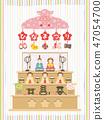 girl's festival, hina matsuri, set of dolls on display 47054700