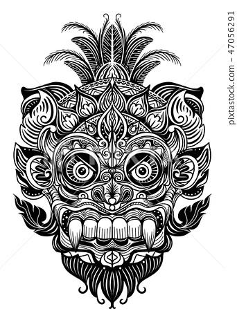 Hand drawn Ornamental element. tattoo devil mask , 47056291