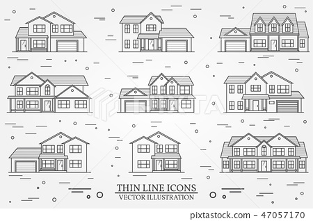 Set of vector thin line icon suburban american houses. For web 47057170
