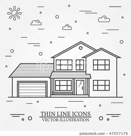 Vector thin line icon suburban american house. For web design and application interface, also useful 47057179