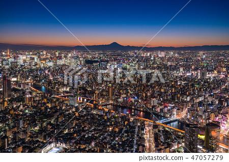 """""""日本的最佳景觀""""東京的夜景 - 富士山的景色""""從天空樹觀景台"""" 47057279"""