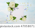 Scrapbook page with white and blue flowers 47058071