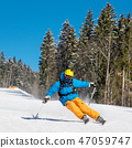 Freeride skier skiing in the mountains at the winter resort. Blue sky and winter forest on the 47059747