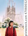Barcelona, Spain. Portret Of Caucasus Beautiful Woman On Backgro 47060032