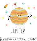 Vector cartoon funny illustration of planet smiling happy Jupiter in cartoon style on space star sky 47061465