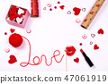 Word love written with red wool thread and cute accessories. 47061919