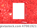 Notebook with pen on red background with heart-shaped confetti. 47061921