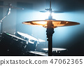 Close-up Drum set in a dark room against the backdrop of the spotlight. Atmospheric background 47062365