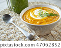Pumpkin puree and green smoothie 47062852